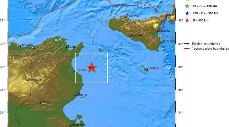 Erdbeben vor der Küste von Sousse und Mahdia (M4,1)