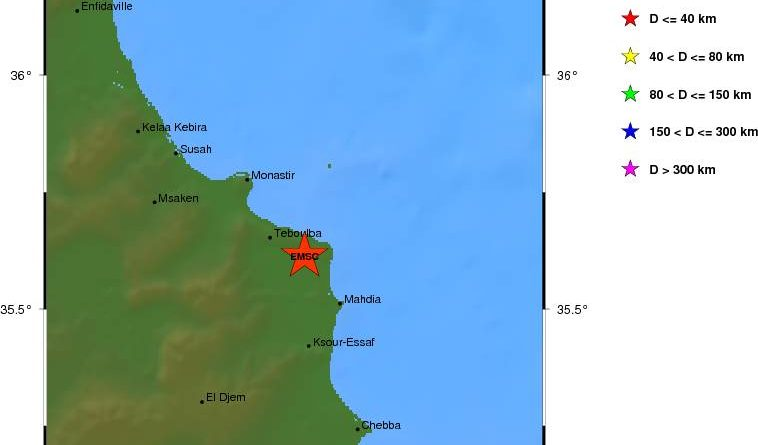 Erdbeben bei Bekalta im Gouvernorat Monastir (M4,6)