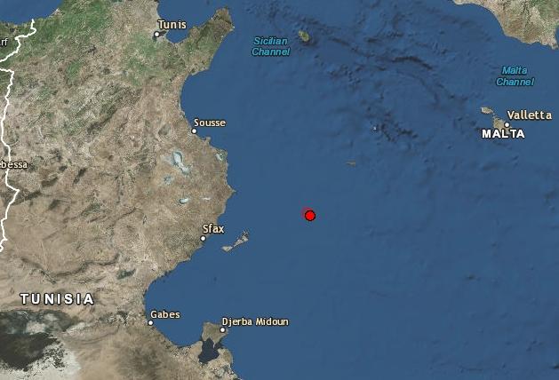 Leichtes Erdbeben im Golf vor Mahdia/Chebba (M3,2)