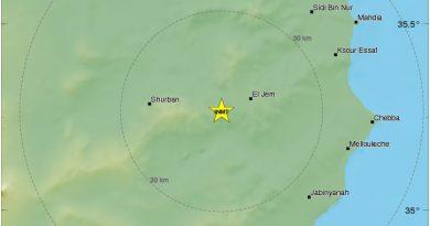 Leichtes Erdbeben bei El Jem im Gouvernorat Mahdia (M3,2)