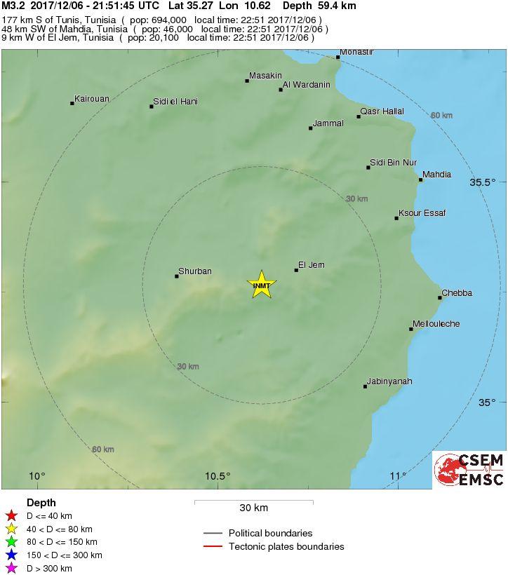 Erdbeben bei El Jem am 6. Dezember 2017
