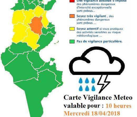 Warnung vor markantem Wetter in der Mitte Tunesiens, insbesondere Kairouan ab 18.04.2018, 14 Uhr