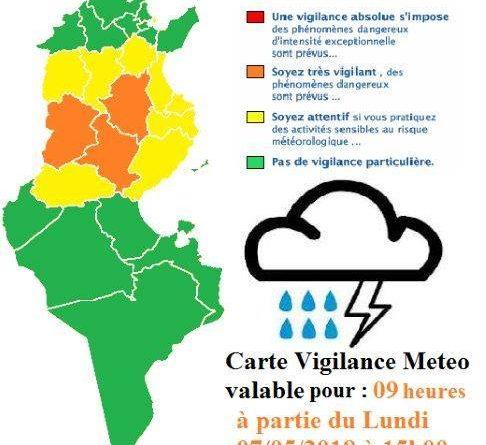 Warnung vor Gewittern und Hagel in der Mitte Tunesiens ab Mo., 7. Mai 2018, 15 Uhr