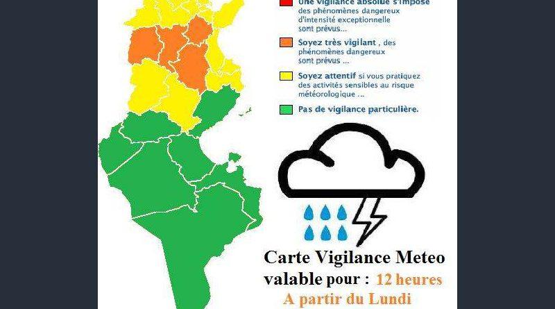 Warnung vor Gewittern im Norden und in der Mitte von Tunesien ab Mo., 21. Mai 2018, 14 Uhr