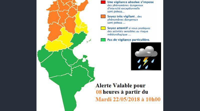 Warnung vor Gewittern und starkem Regen im Norden und in der Mitte Tunesien ab Di., 22. Mai 2018, 10 Uhr