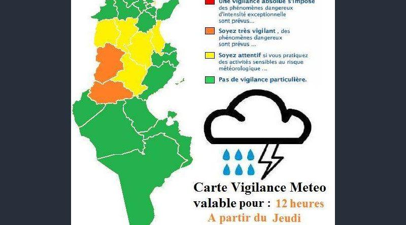 Warnung vor Gewittern und Starkregen in der Mitte Tunesien ab Do., 21. Juni 2018, 12 Uhr