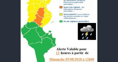 Warnung vor Gewittern und Starkregen in der Nordhälfte Tunesiens ab So., 05. Aug 2018, 12 Uhr