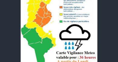Warnung vor Gewittern und Starkregen in der Nordhälfte Tunesiens und im Südosten ab Mo., 06. Aug 2018, 12 Uhr