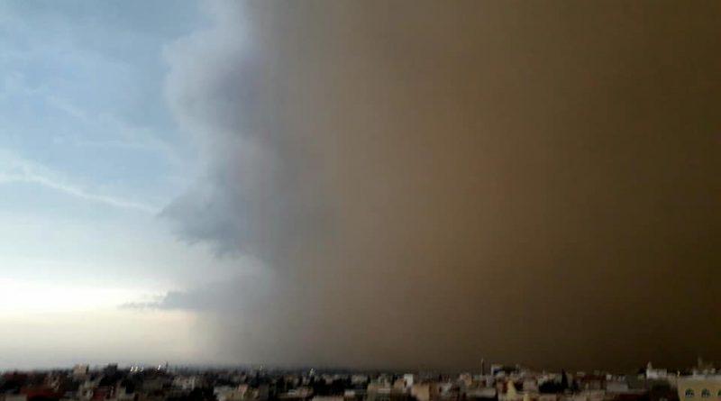 Aufziehender Sandsturm in Akouda/Sousse am 05.09.2018