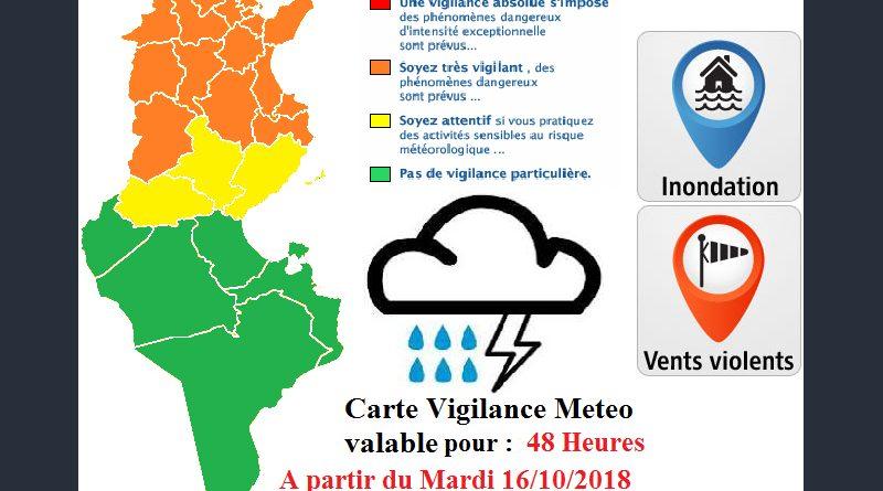 Warnung vor Starkregen, starkem Wind und möglichen Überflutungen ab Di., 16.10.2018, 15 Uhr