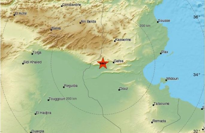Leichtes Erdbeben bei Al Metlaoui westlich von Gafsa (M3,3)