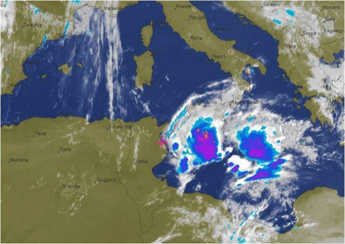Abgezogenes Niederschlagsgebiet vom 13.10.,2018 - Niederschlagsmengen Tunesien: Sa., 13.10.2018, 7 Uhr bis So., 14.10.2018, 7 Uhr