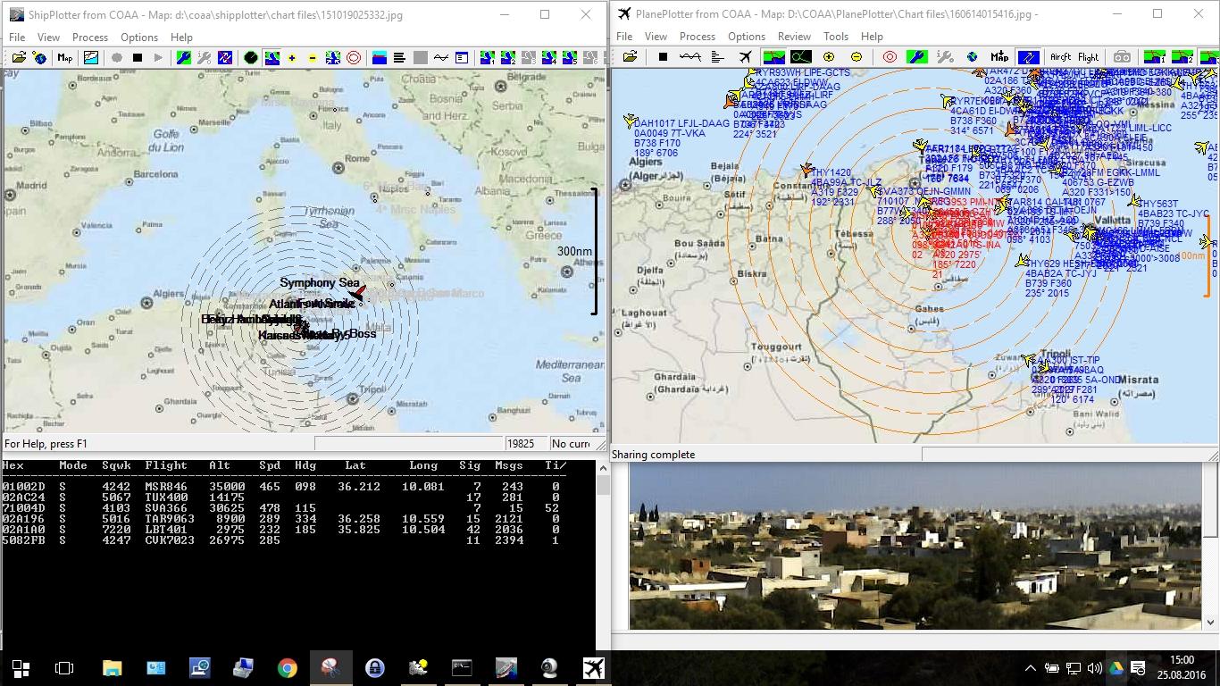Bildschirm Wetterrechner: Links oben Shipplotter; rechts oben Planeplotter; links unten ADS-B Software; rechts unten Wettercam