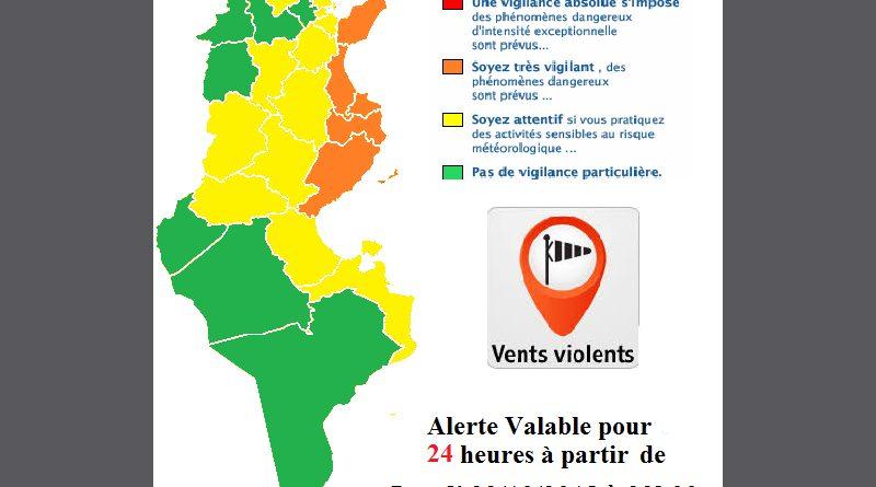 Warnung vor stürmischen Winden vor allem im Sahel und auf Cap Bon ab Mo., 22.10.2018, 22 Uhr