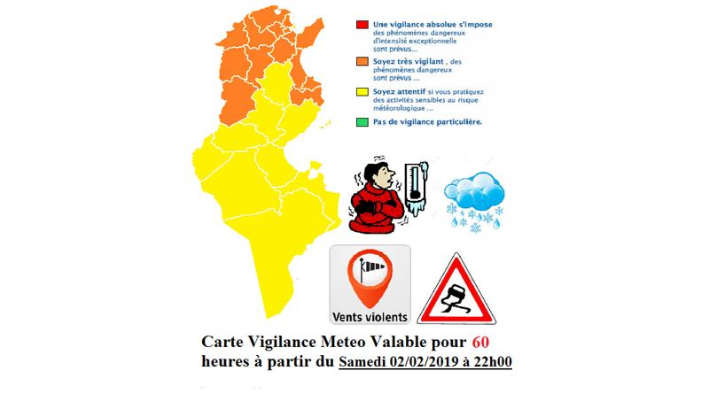 Warnung vor Kälte, Niederschlägen und Schnee ab dem 2. Feb. 2019, 22 Uhr