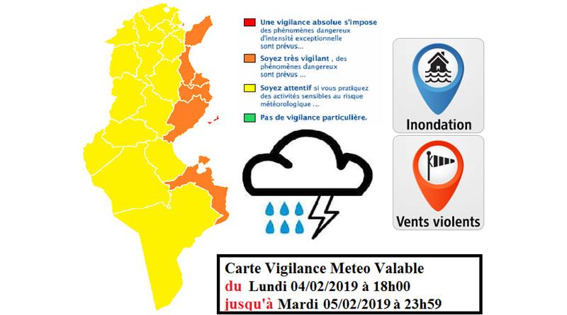 Warnung vor Starkwind und Starkregen an den östlichen Küsten ab Mo., 04.02.2019, 18.00 Uhr