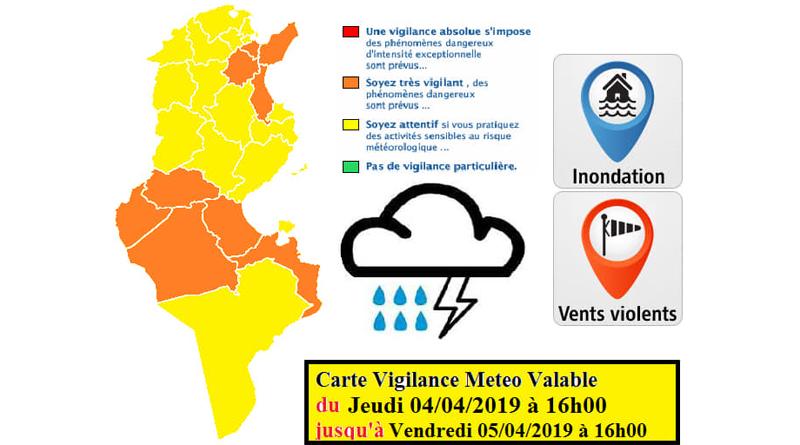 Warnung vor Starkregen, starken Winden und möglichen Überflutungen bis 05.04.2019, 16 Uhr