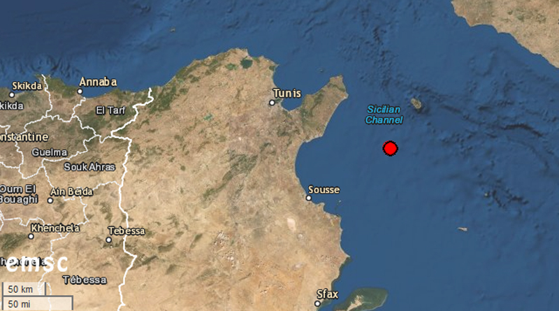 Leichtes Erdbeben im Golf von Hammamet (M3,5)