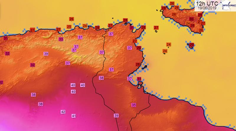 Temperaturen in und um Tunesien am Mittwoch, den 19. Juni 2019, 13.00 Uhr