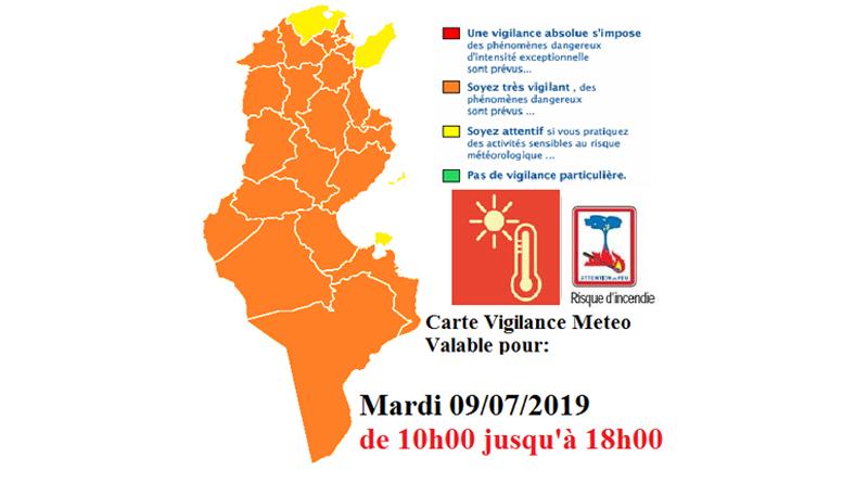Warnung vor hohen Temperaturen und Brandgefahr in den meisten Regionen am 9. Juli 2019 bis 18 Uhr