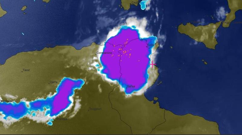 Bewölkungssituation am 22.08.2019 um 20.30 Uhr Ortszeit, Screenshot meteoblue.com