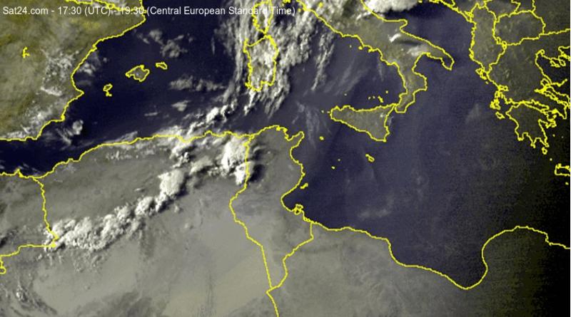 Niederschlagsmengen Tunesien: Di., 13.08.2019, 7 Uhr – Mi., 14.08.2019, 7 Uhr - Screenshot: sat24.com
