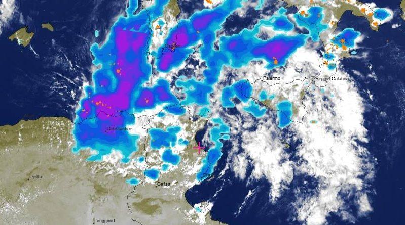 Radarbild vom 1. September 2019, 14.00 Uhr - Quelle: meteoblue.com