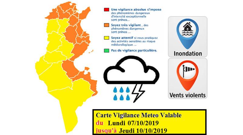 Vorwarnung vor starken Regenfällen mit Überflutungen ab Mo., den 7. Oktober 2019