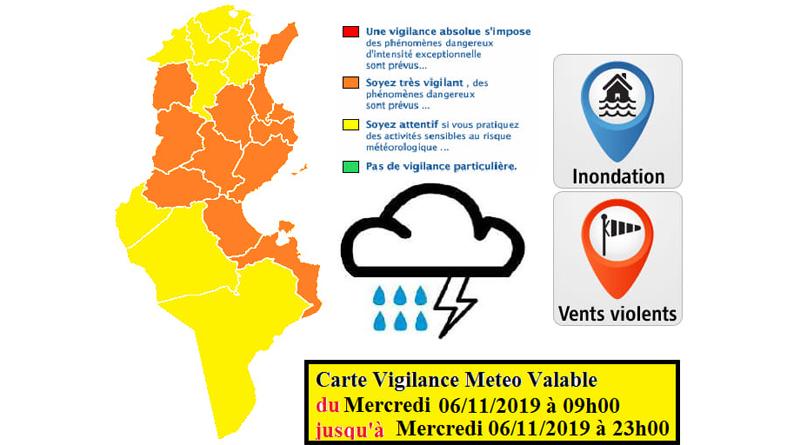 Warnung vor Starkregen, Starkwind und Überflutung besonders im Westen und an der Ostküste Tunesiens