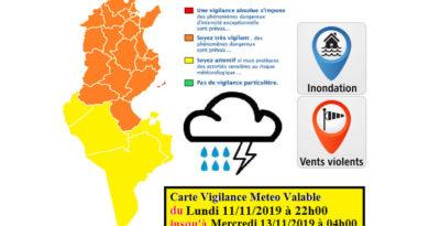Warnung vor Starkregen, Starkwind und Überflutung ab Mo., den 11.11.2019, 22 Uhr