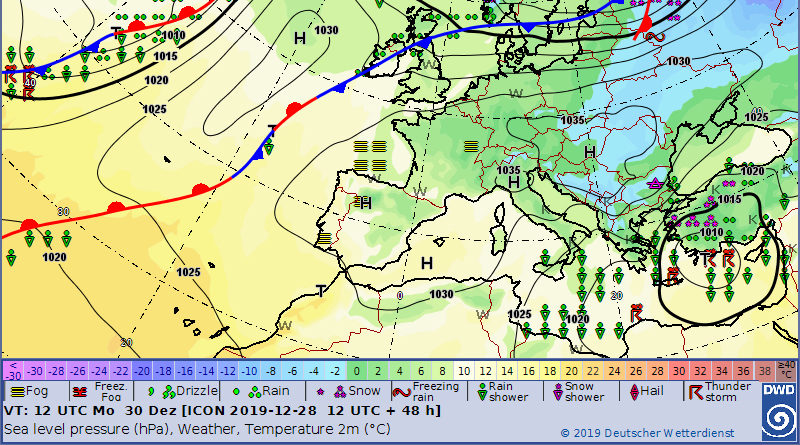 Bild: Deutscher Wetterdienst (DWD) - Montag, 30.12.2019, 13.00 Uhr Orstzeit (12.00 Uhr UTC)