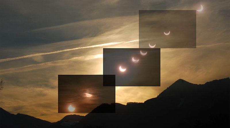 Fotomontage des Verlaufs einer partiellen Sonnenfinsternis zwischen Anfang etwa bei Sonnenaufgang und etwa der Finsternismitte - Bild: Von Sgbeer - Eigenes Werk, CC BY-SA 3.0, https://commons.wikimedia.org/w/index.php?curid=12572353