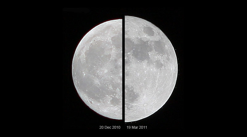 Supermond Größenvergleich: Links ein durchschnittlicher Vollmond, rechts in Erdnähe - Bild: Marcoaliaslama - Eigenes Werk, CC BY-SA 3.0, https://commons.wikimedia.org/w/index.php?curid=14651085