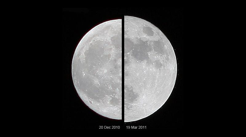 Supermond Größenvergleich: Links ein durchschnittlicher Vollmond, rechts in Erdnähe - Bild: Marcoaliaslama - Eigenes Werk, CC BY-SA 3.0, https://commons.wikimedia.org/w/index.php?curid=14651085