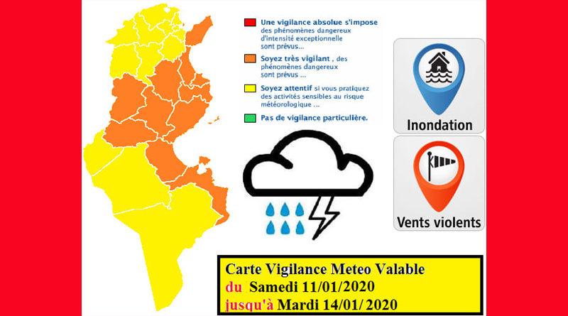 Warnung vor markantem Wetter ab Sa., den 11. Jan bis Di., den 14. Jan 2020