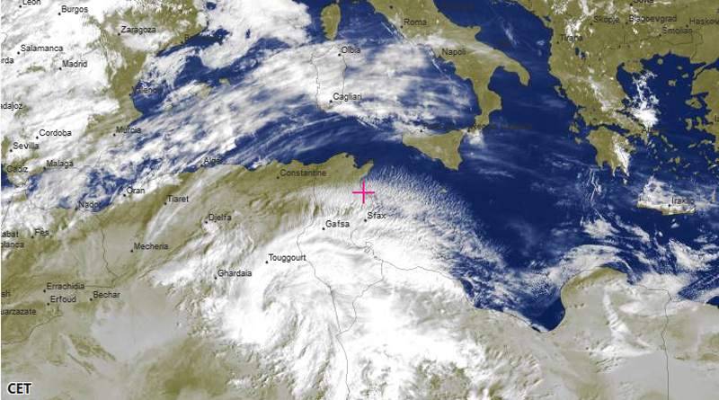 Bewölkungssituation über und um Tunesien am 13. Februar 2020 um 10 Uhr Ortszeit - Bild: meteoblue.com