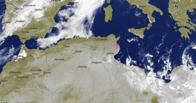 Bewölkungssituation in und um Tunesien - Bild: meteoblue.com