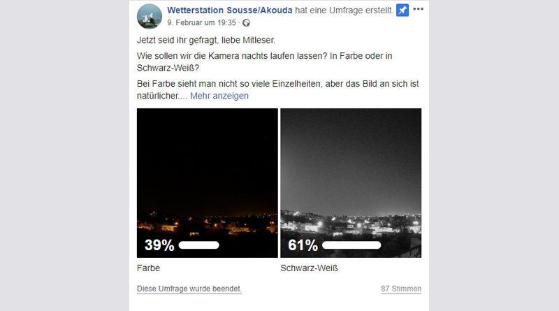Wettercam: Facebook-Umfrage beendet – 61 Prozent der Mitleser entschieden sich für Schwarz-weiß in der Nacht