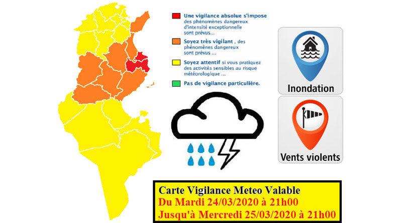 Tunesien: Erweiterte Warnung vor markantem Wetter ab Di., den 24. März 2020
