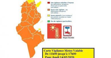 Warnung vor hohen Temperaturen und Waldbrandgefahr am Do., den 14. Mai 2020