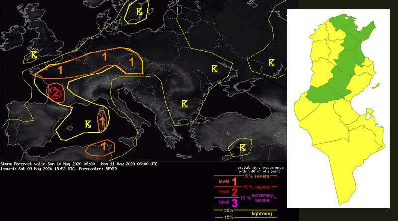 Warnung 10.05.2020 - Starke Winde und Gewitter von So auf Mo