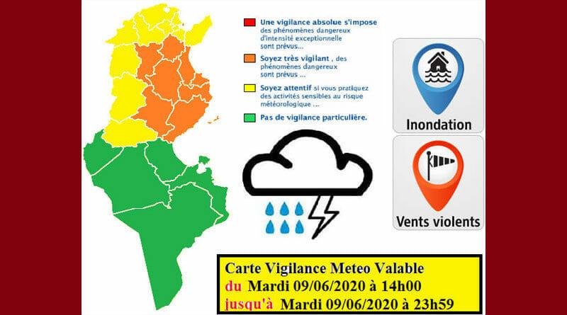 9 Juni 2020: Warnung vor starkem Regen, Wind und Überflutung
