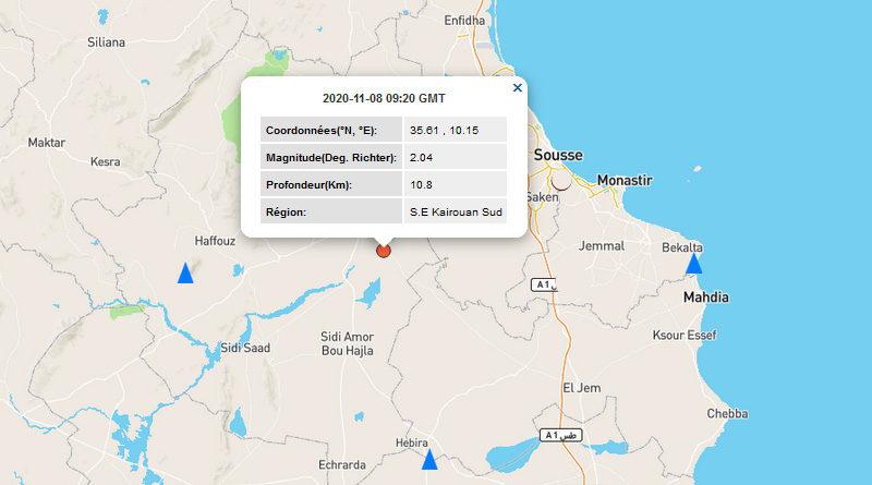 8 Nov 2020: Leichtes Erdbeben im Gouvernorat Kairouan [M2.04]