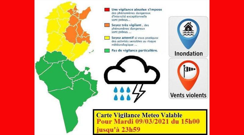 9 März 2021: Warnung vor Gewitter, Starkregen, Überflutung, Wind