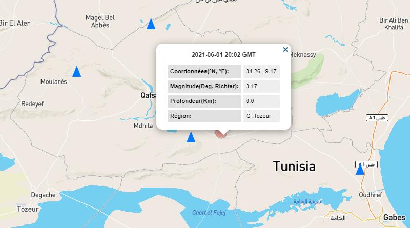1 Juni 2021: Erdbeben bei Belkhir im Gouvernorat Gafsa [M3.17]