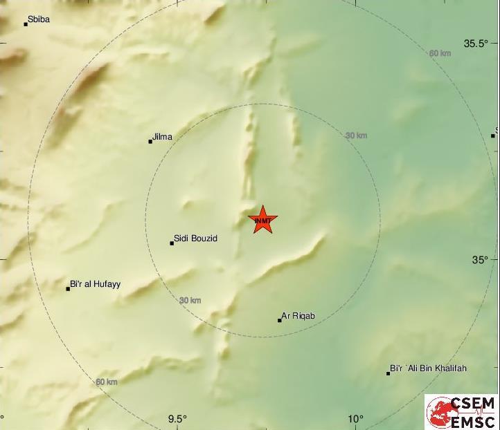 10 Sep 2021: Erdbeben im Gouvernorat Sidi Bouzid [M3.70] - Bild: EMSC